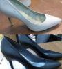 Изменение цвета женских кожаных туфель с белого на чёрный