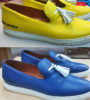 Изменение цвета кожаной обуви из жёлтого в синий